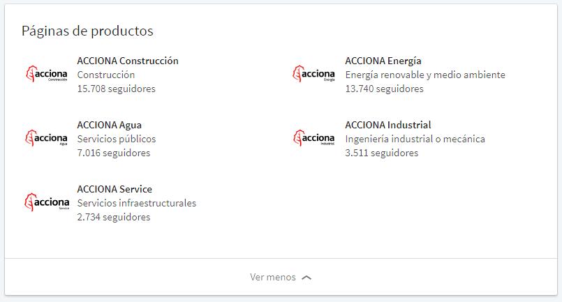 Ejemplo empresa en LinkedIn: Acciona