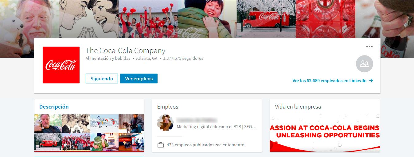 Ejemplo empresa en LinkedIn: Coca Cola
