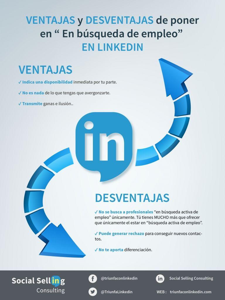 """Ventajas y desventajas de poner en """" En búsqueda de empleo"""" en LinkedIn"""