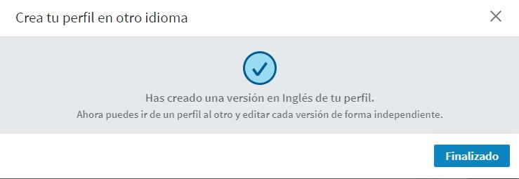 Crear un perfil en otro idioma. Mensaje de perfil creado