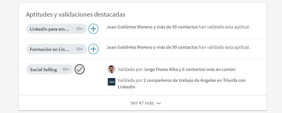 Aptitudes profesionales en LinkedIn