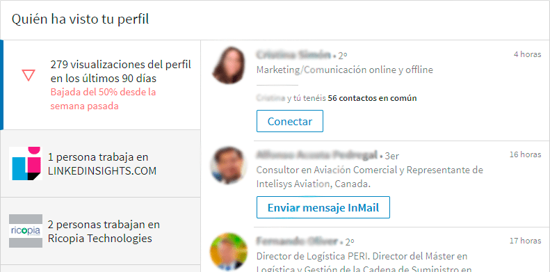 Linkedin Analytics: visitas al perfil