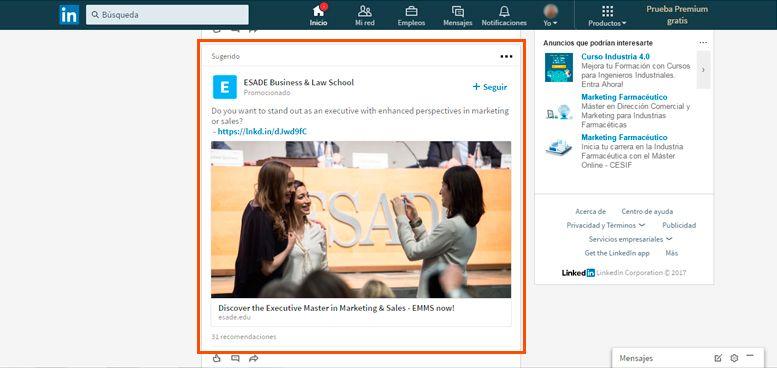 Publicidad en LinkedIn - Contenido Patrocinado