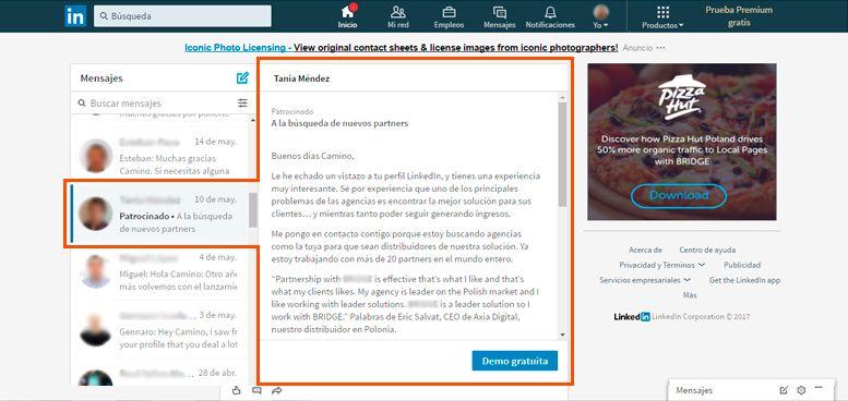 Publicidad en LinkedIn - InMails Patrocinados