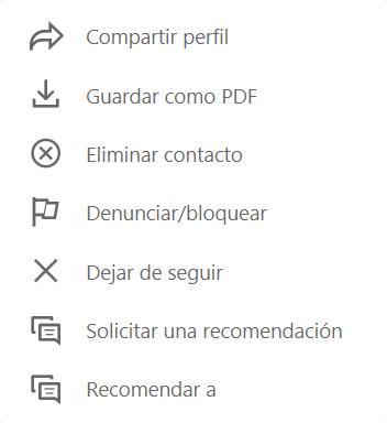 Contacto LinkedIn: Menú de opciones para un contacto de primer grado