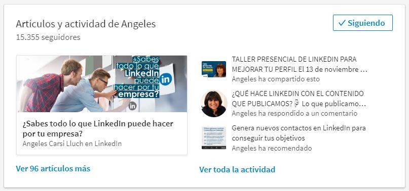"""Actividad pública en LinkedIn: Sección """"Actividad de"""""""