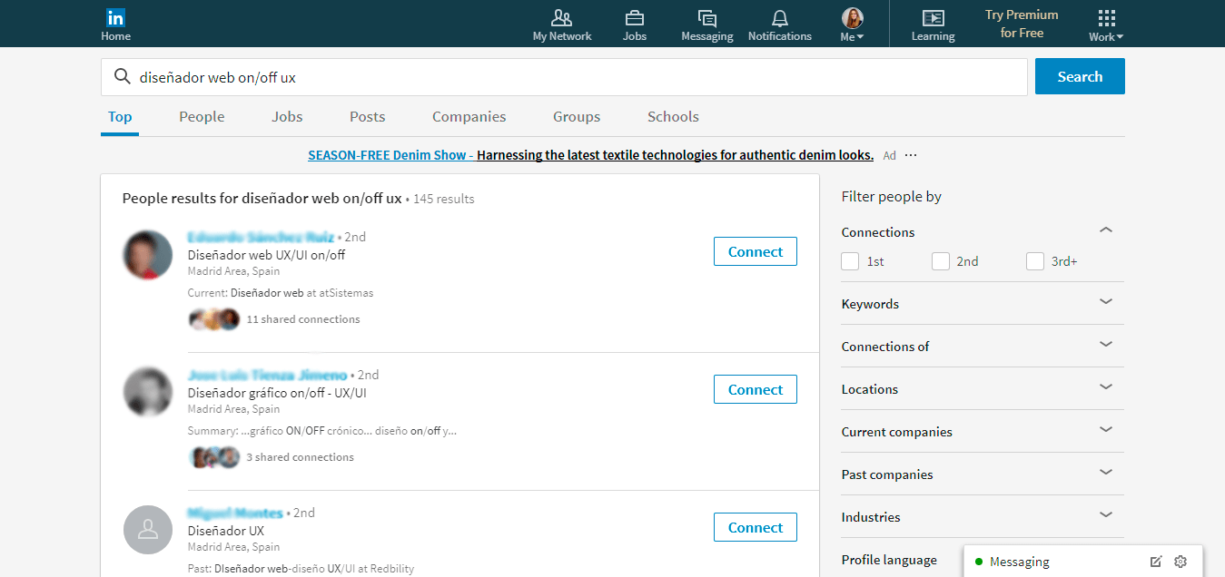 ejemplo buscar en linkedin por palabras clave