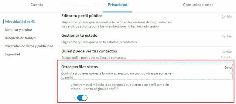 que significa otros perfiles vistos en LinkedIn configuración