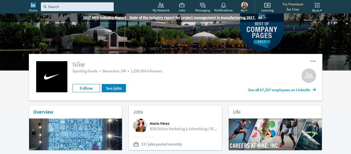 Listado de empresas páginas LinkedIn: NIKE