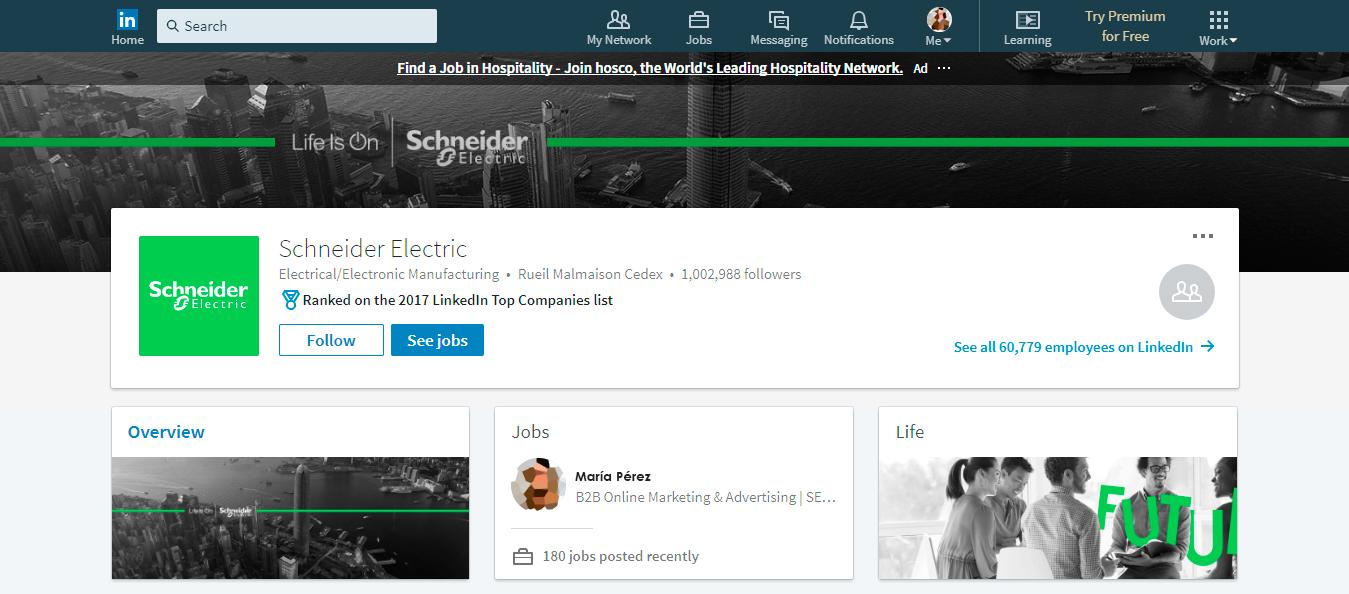 Listado de empresas páginas LinkedIn: Schneider