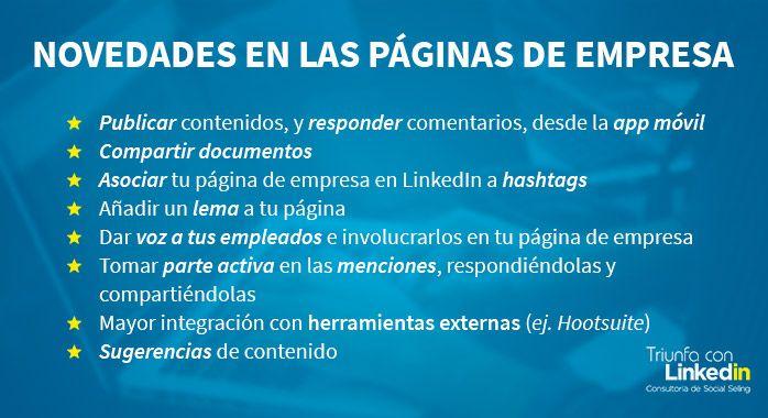novedades páginas de empresa linkedin