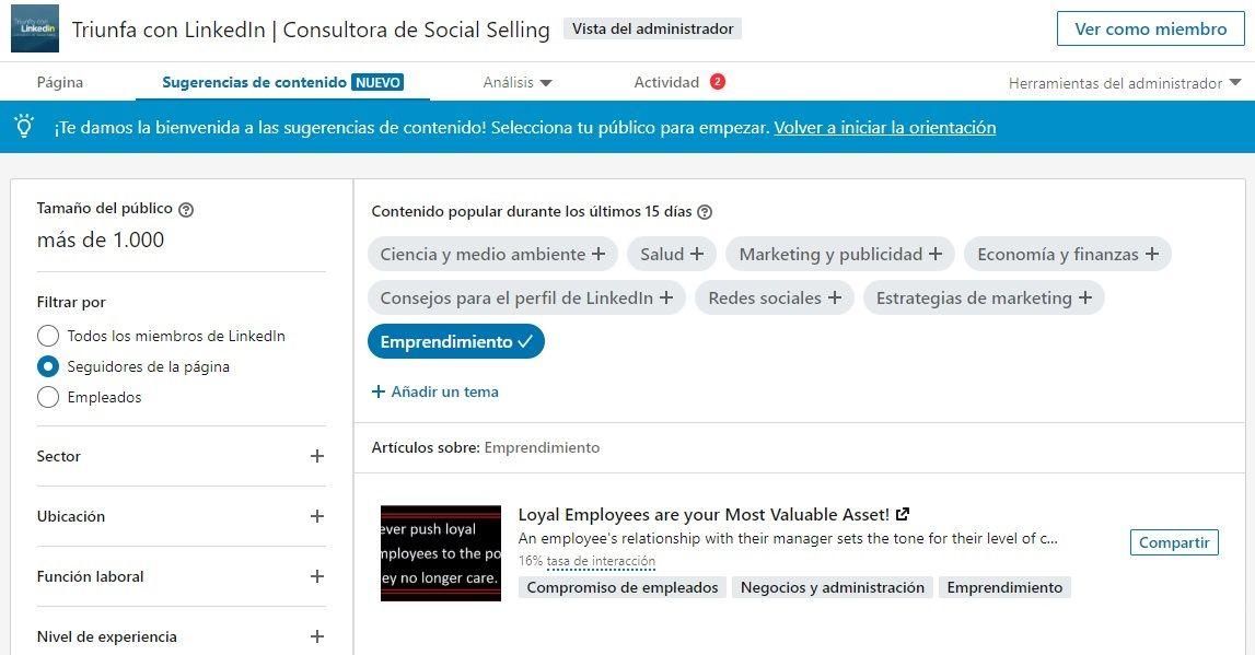 pagina de empresa en LinkedIn sugerencias de contenido