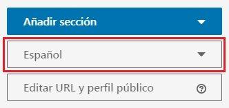 LinkedIn en inglés - Añadir idioma