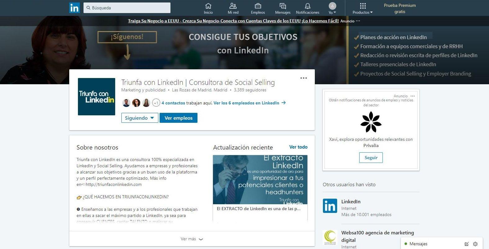 Perfil de empresa en linkedin fondo