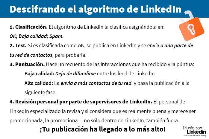 Descifrando el algoritmo de Linkedin - Infografía