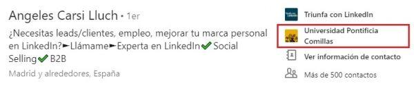 Sección Educación perfil LinkedIn: Centro educativo en la parte superior del perfil