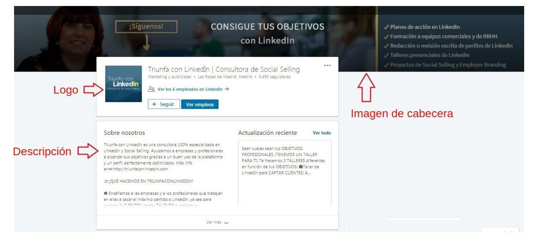 Página de empresa en LinkedIn - Ejemplo