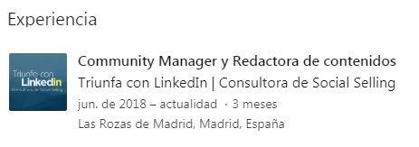 Página de empresa en LinkedIn incluida en perfil LinkedIn