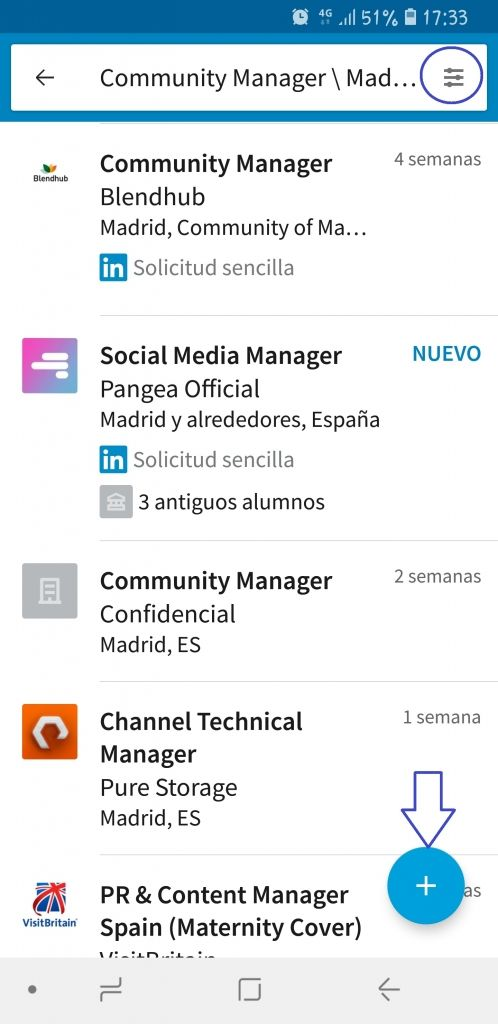 filtros alerta empleo linkedin job search seleccion