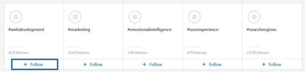 siguiendo linkedin hashtags