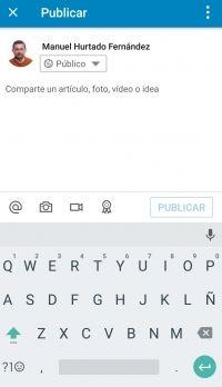 LinkedIn App - Pantalla para compartir actualización