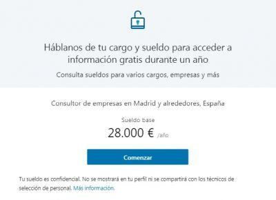"""LinkedIn Salary - Ventana """"Háblanos de tu cargo y sueldo"""""""