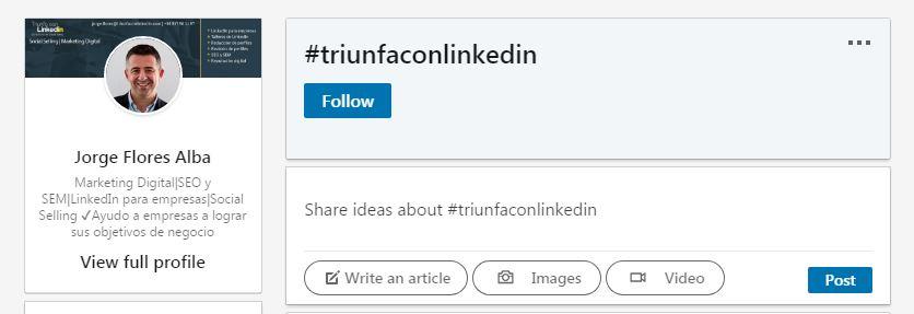 seguir nuevos linkedin hashtags