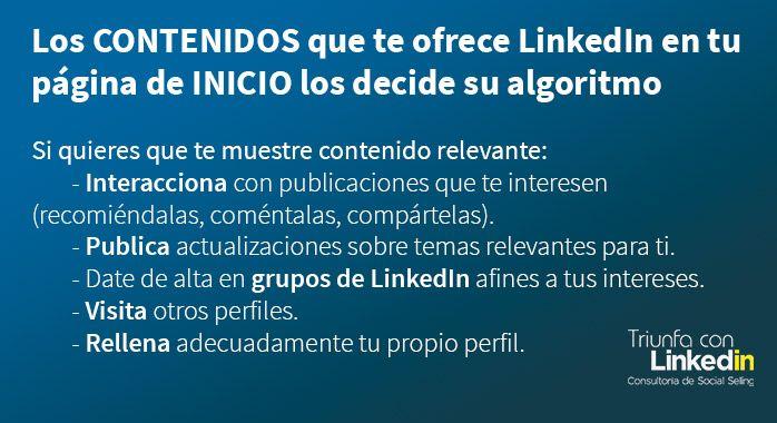 Página de inicio en LinkedIn, ¿de qué depende? - Infografía