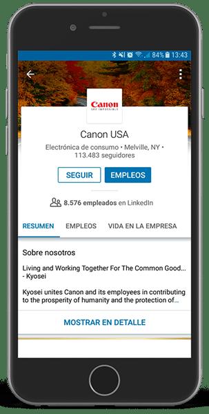 Ejemplo movil de empresa en LinkedIn