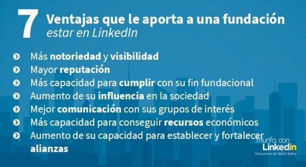 Ventajas que le aporta a una fundación estar en LinkedIn - Infografía