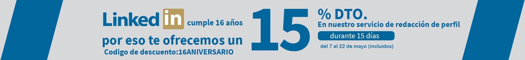 Promoción 16 aniversario LinkedIn