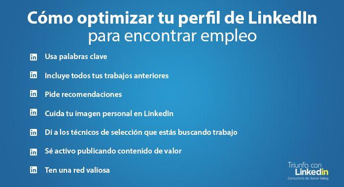 Cómo optimizar tu perfil de LinkedIn para encontrar empleo infografía