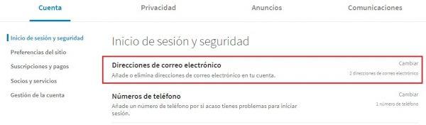 Configuración direcciones de correo electrónico en LinkedIn