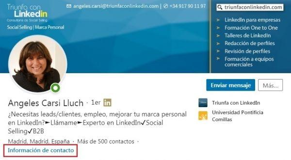 Enlace Información de contacto en el perfil de LinkedIn