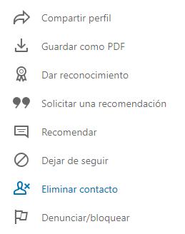 Cómo eliminar un contacto de LinkedIn dónde hacer clic
