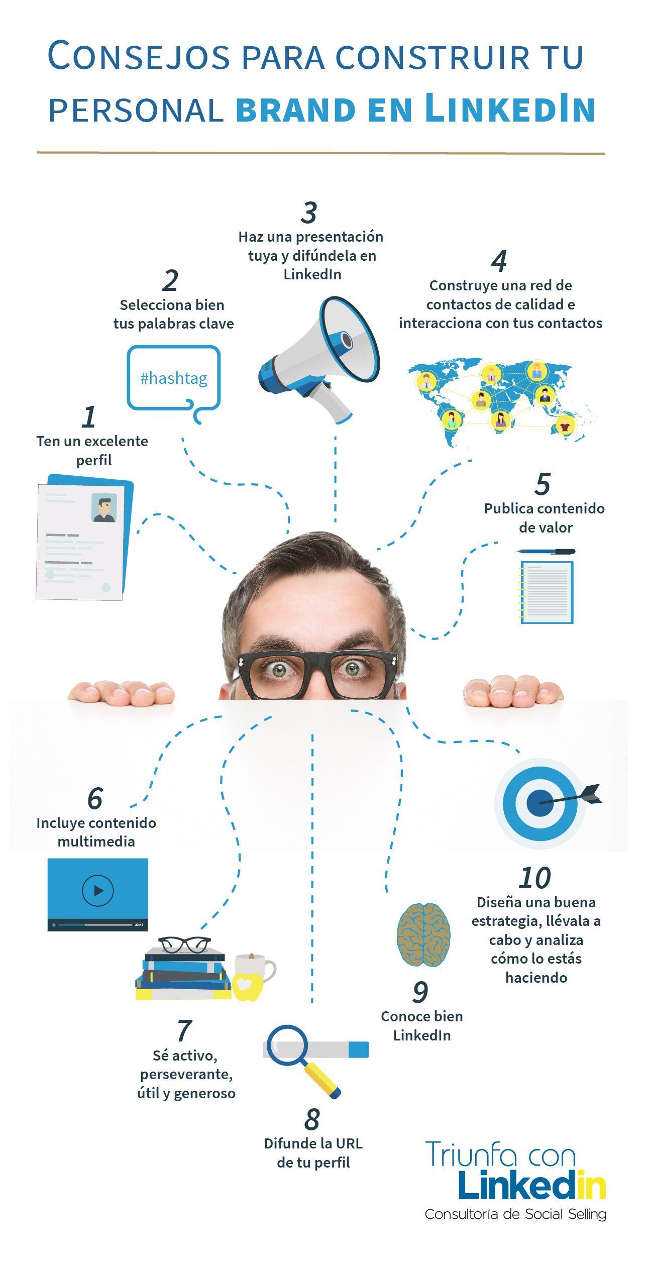 Consejos para construir tu personal brand en LinkedIn - Infografía