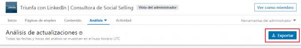 Exportar análisis actualizaciones
