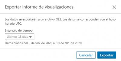 LinkedIn Analytics - Ventana Exportar informe visualizaciones