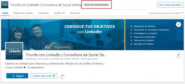 LinkedIn Analytics - Página LinkedIn, Vista del Administrador