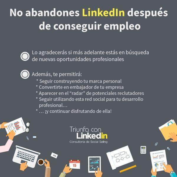 No abandones LinkedIn después de conseguir empleo - Infografía