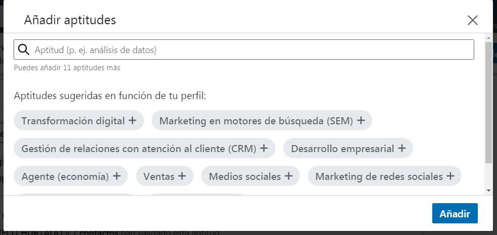 Añadir aptitudes de LinkedIn a tu perfil