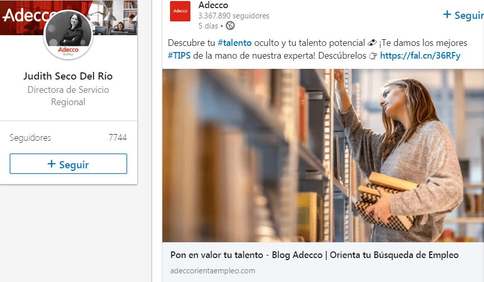 Ejemplo del uso eficaz de LinkedIn en Adecco