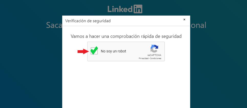 No soy un robot entrar en LinkedIn