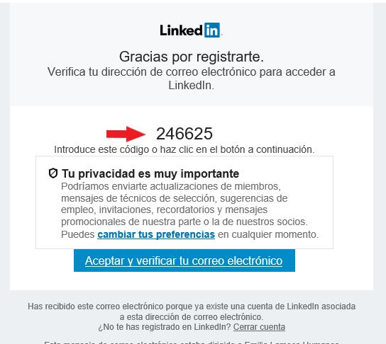 Código correo verificación para entrar en LinkedIn