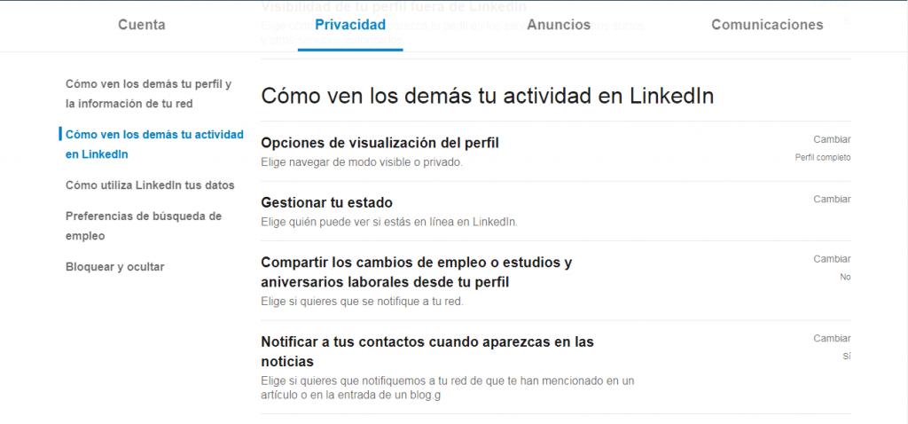 Activar modo privado en LinkedIn