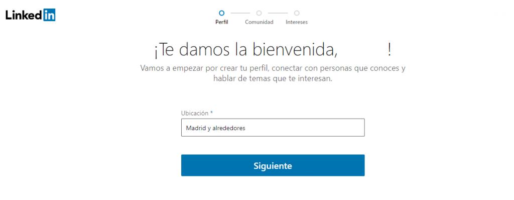 Ubicación para entrar en LinkedIn