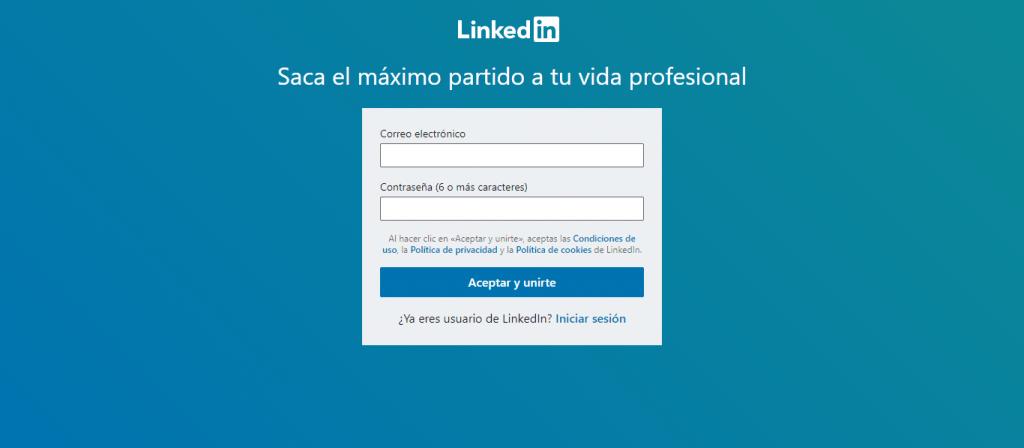 Poner correo y contraseña para entrar en LinkedIn