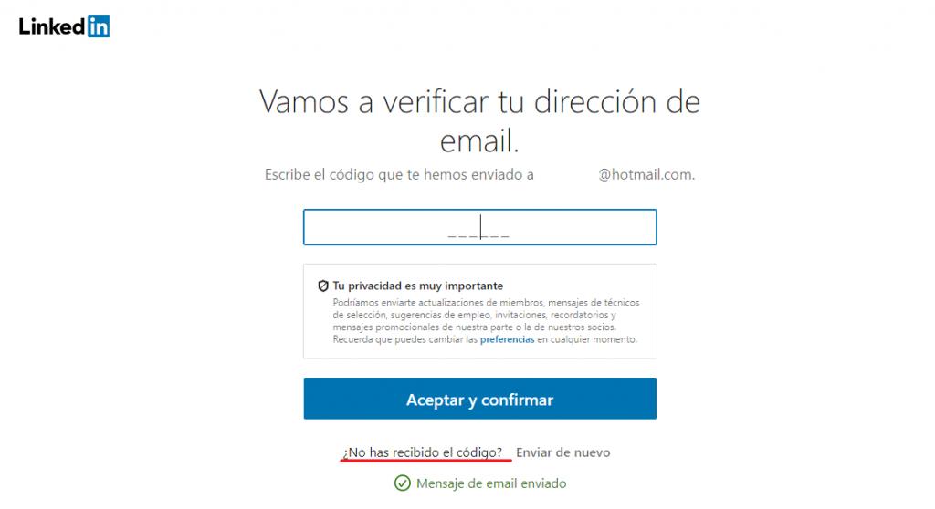 Verificar email para poder entrar en LinkedIn