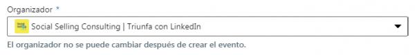 Cómo crear un evento en LinkedIn - Organizador desplegable empresa