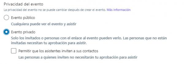 Cómo crear un evento en LinkedIn - Privacidad del evento